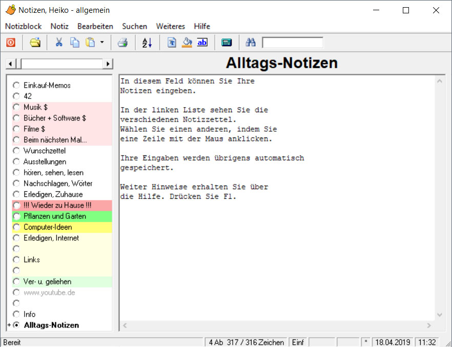 Screenshot vom Programm: Alltags-Notizen