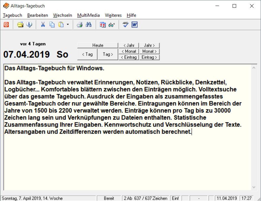 Screenshot vom Programm: Alltags-Tagebuch
